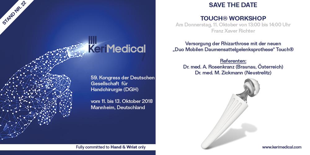 Save the date kerimedical dgh kongress deutschland daumensattelgelenksprothese touch duo mobilen